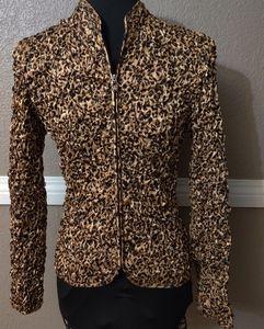 {MSK} leopard Sequin Thin Jacket